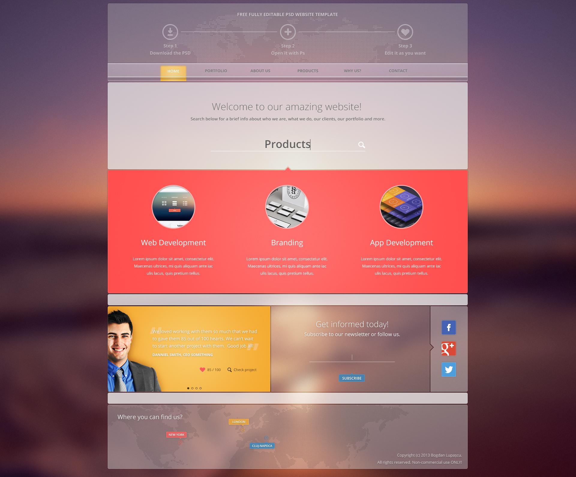 Editable PSD Web Template