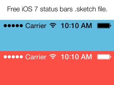 Free iOS 7 Status Bars (Sketch File)