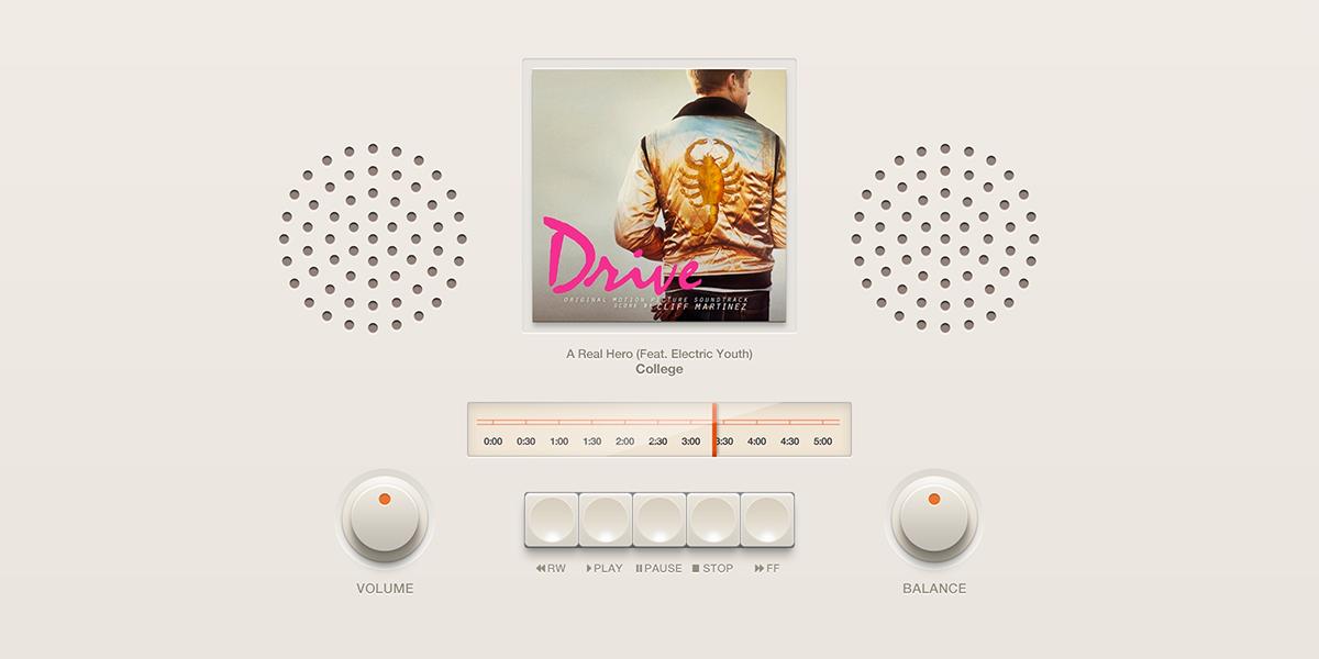 Retro Music Player UI PSD
