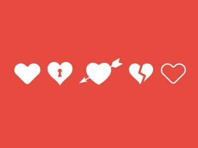 Valentine Love Heart Icon PSD