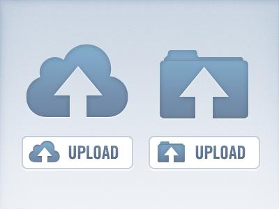 Vector Upload Icon PSD (Cloud & Folder)