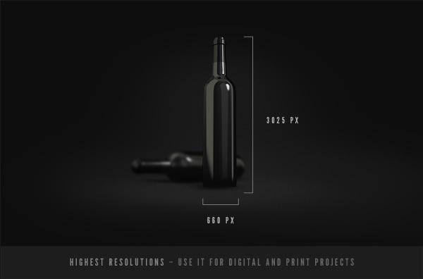 Wine Bottles Mockup Template PSD-2
