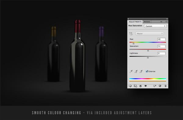 Wine Bottles Mockup Template PSD-3