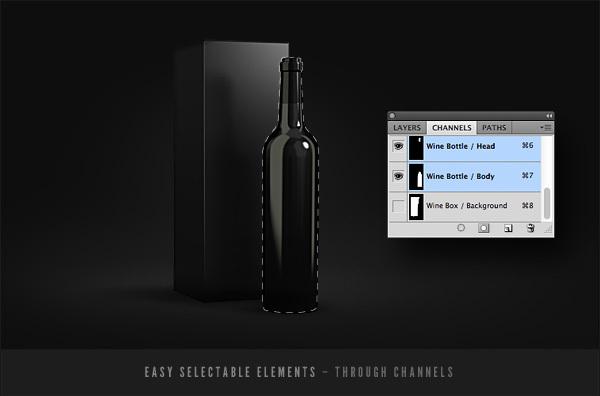 Wine Bottles Mockup Template PSD-4