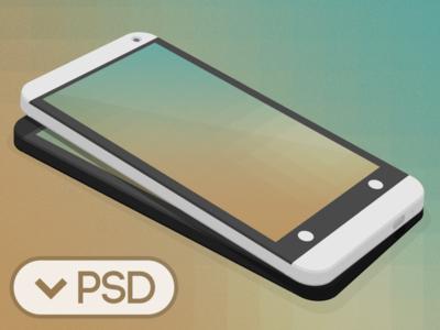 Black HTC One 3D Mockup Template PSD