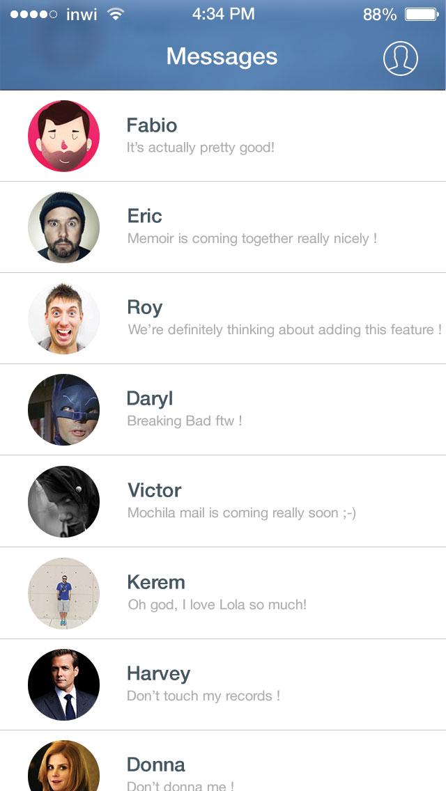 iOS 7 Facebook Messenger UI PSD Preview