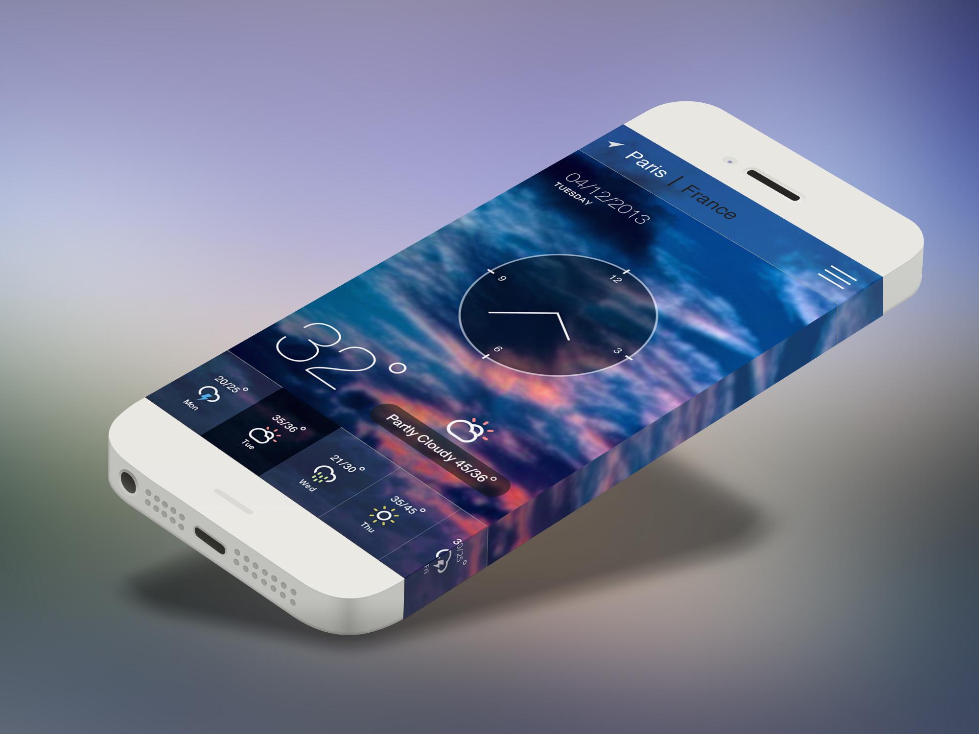 iOS 7 iphone Weather APP UI PSD
