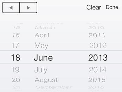 iOS7 iPhone Date Picker PSD