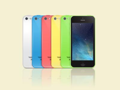iPhone 5c Mockups Vector Illustration
