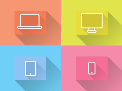 Flat Icons:Desktop,Laptop, Tablet, Smartphone