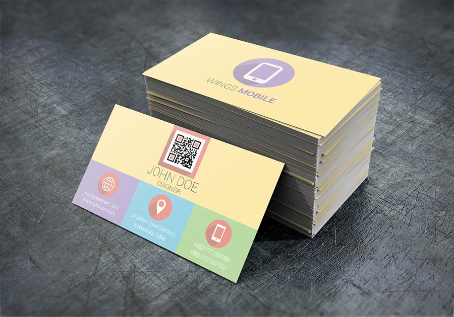 Flat Mockup Business Card Design Template PSD