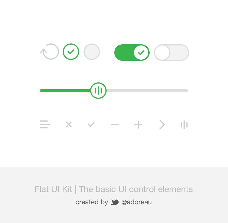 Flat UI Kit - UI Control Elements PSD