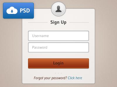 Login Sign Up PSD Button