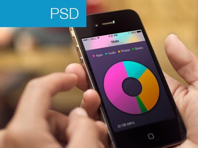 PSD-App Stats View Mockup