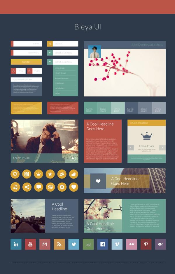 flat web elements & ui kit psd preview