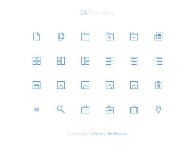 32x32 Thin Icons PSD