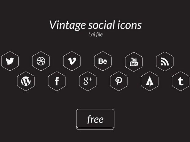 Vintage social icons vector ai