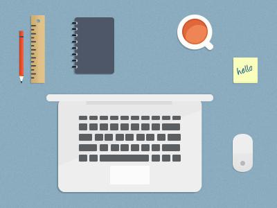 PSD Desktop Coffee,Mouse,Pencil,Ruler,Stiky,Notebook