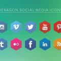Hexagon Social Media Icons Vector