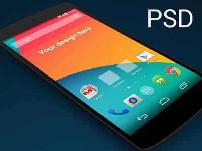 PSD Nexus 5 Skewed Perspective Template