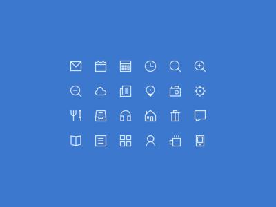 Thin Glyphs Icon Set PSD 2