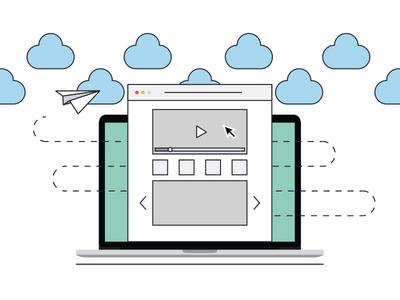 Flat Macbook Landing Page Vector
