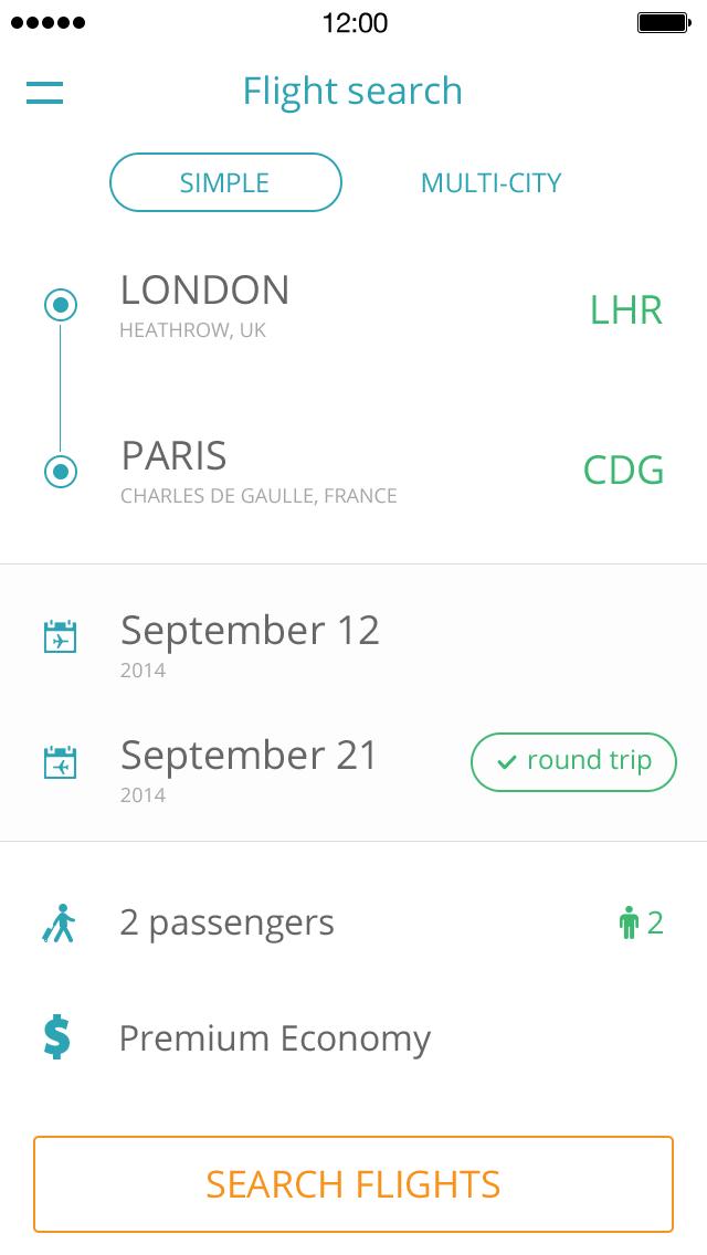 Flight Search App UI Design PSD 1