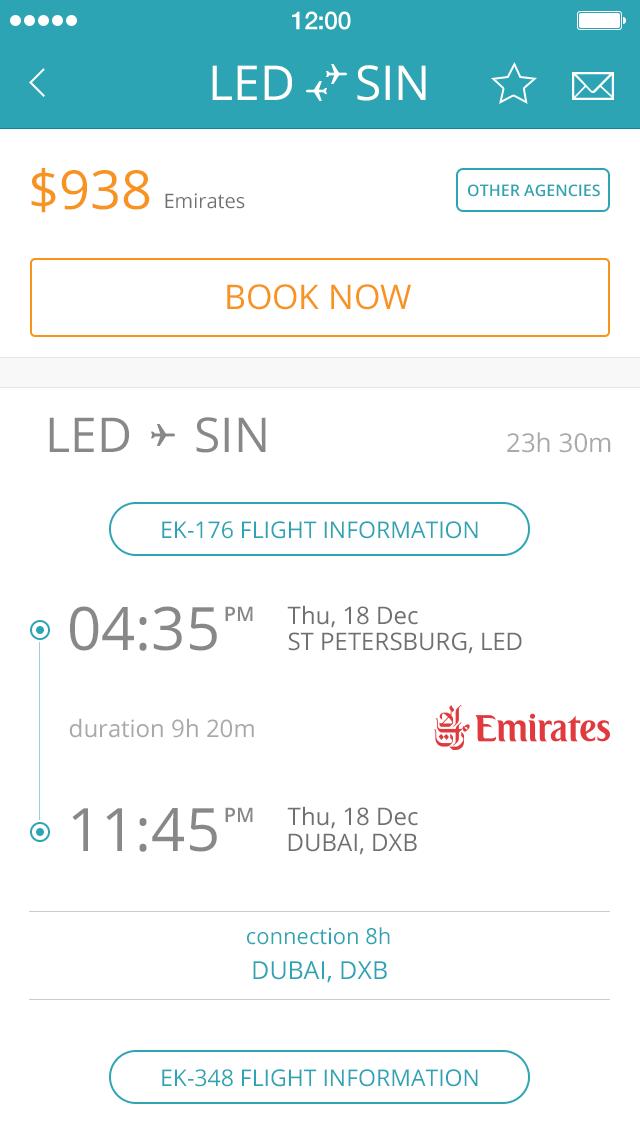 Flight Search App UI Design PSD 2