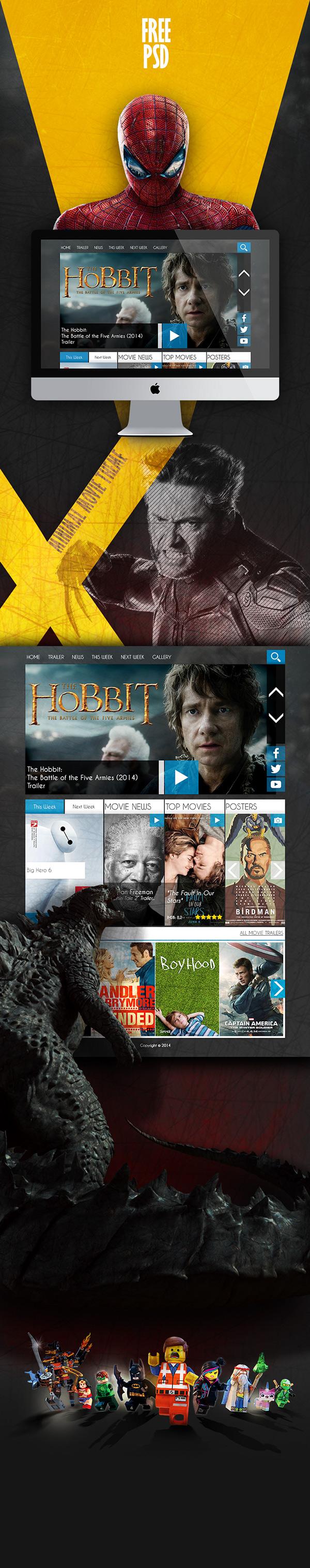 Free Movie Website PSD Template Movie Theme