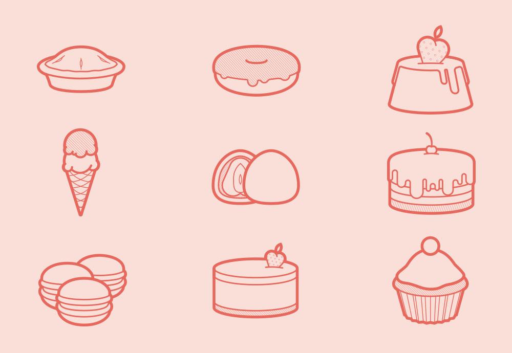 Free Sweets Desserts icon Set AI PSD