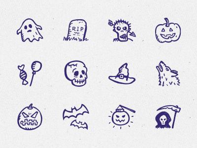 12 Hand-drawn Free Halloween icons Vector PSD