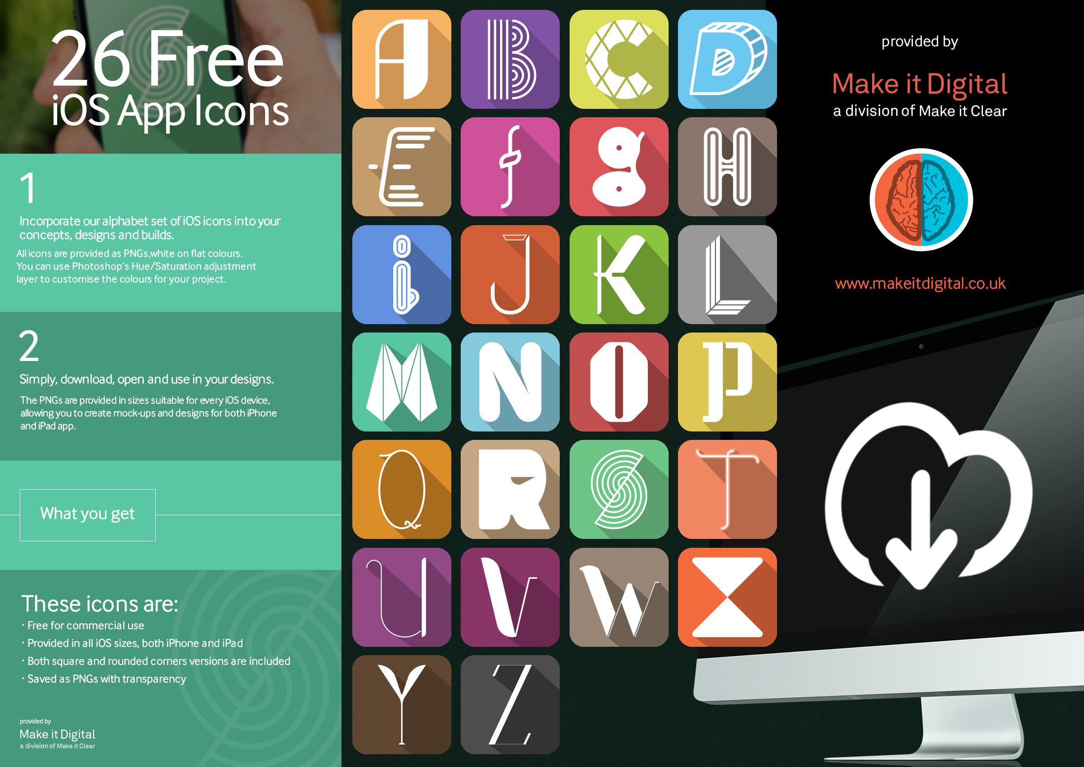 26 Free iOS Alphabet App Icons download