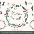 FREE Christmas Wreath, Holly Vector and Xmas Digital Clip Art