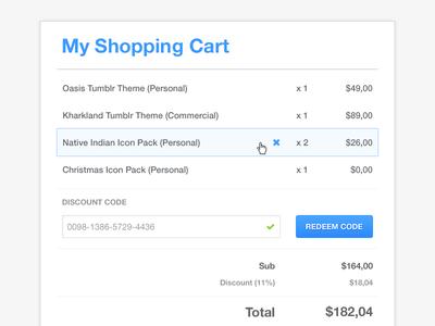 Shopping Cart UI Design PSD
