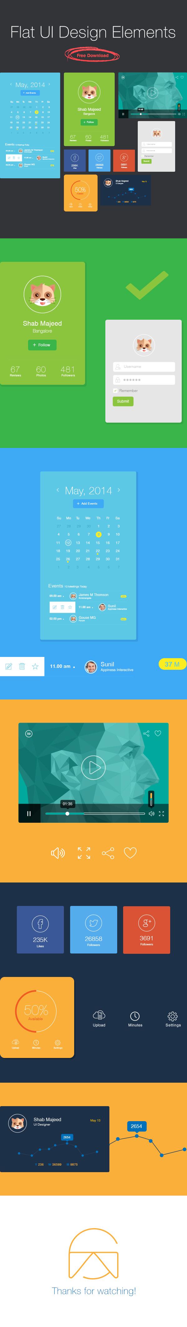 Vector Flat UI Design Elements Download