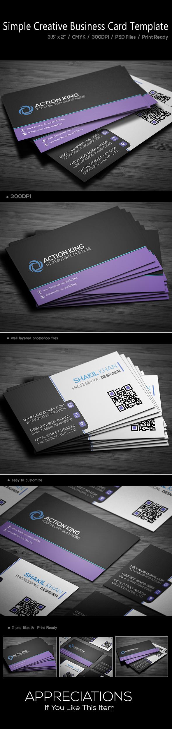 Simple Creative Corporat Business Card Template