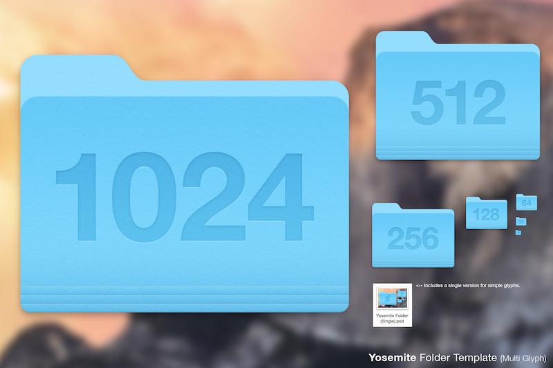 Yosemite Folder Icon Templates PSD File | Free PSD,Vector,Icons
