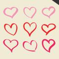 9 hand drawn vector hearts