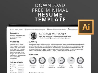 Free Mimimal Resume CV PSD Template