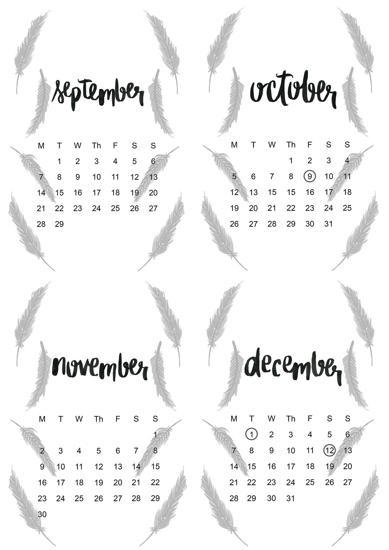 Free Printable 2015 Monthly Calendar 3
