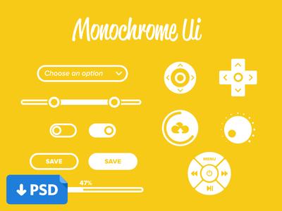 Monochrome UI Design PSD