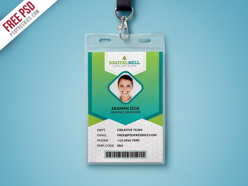 Multipurpose photograph id card template psd free psd for Free printable id cards templates